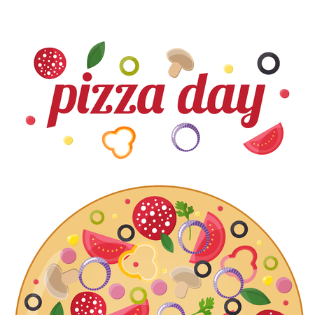 Pizza day concept. Design elements for pizzeria, fast food restaurant, cafe. Vector illustration