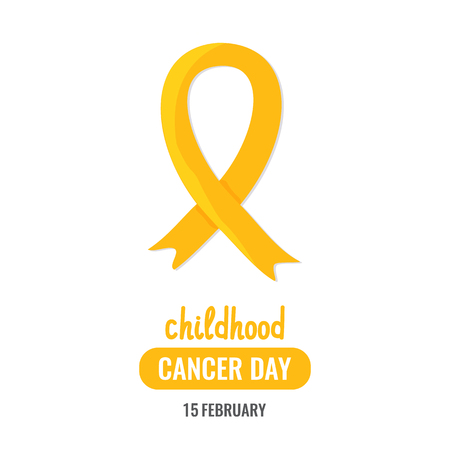 World childhood cancer day banner or poster with yellow ribbon. February awareness month campaign. Vector illustration.