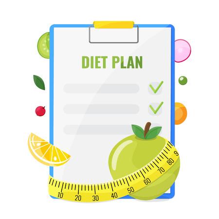 Notatnik z planem diety, jabłkiem, pomarańczą, warzywami i miarką. Koncepcja planu diety. Ilustracja wektorowa.
