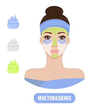 Beautiful woman with facial mask care. Multimasking concept. Vector illustration.
