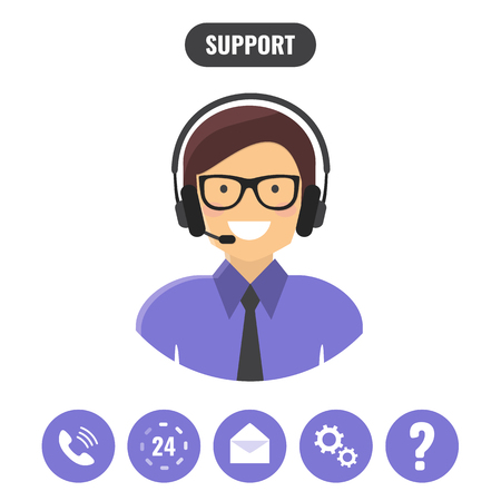 Technical support call center icons. Customer support service concept. Vector flat style illustration Illustration