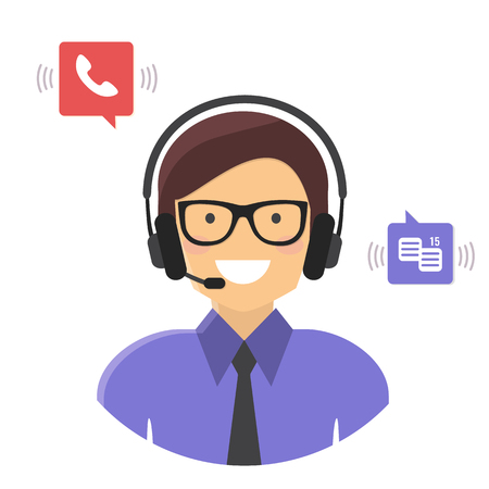 Call center. Customer support service concept. Vector flat style illustration