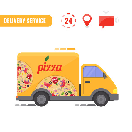 Delivery truck. Concept of the pizza delivery service. Vector illustration.