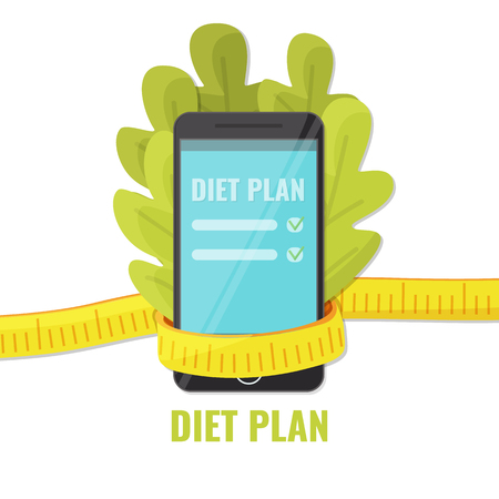 Lettuce with smartphone in measuring tape. Diet plan app concept. Vector illustration.