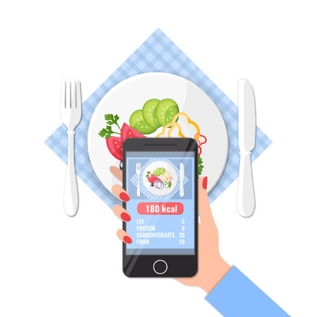 Phone with app of counting calories in photos on a smartphone. Calorie calculator concept for icons, banners, web mobile design. Ilustração