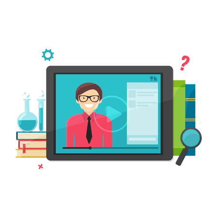 E-learning, online education concept. Computer tablet desktop with training video and books. Vector illustration. Illustration