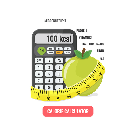 Calculator with apple and measuring tape. Stock Illustratie