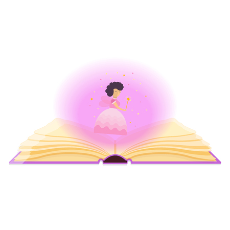 Open book with magical dust and fairy.