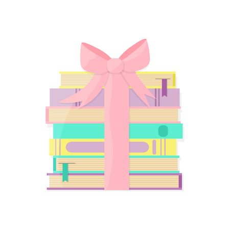 Books pile packaged as a gift