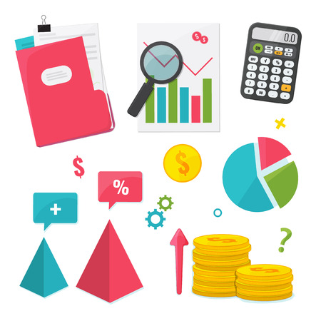 Business Management and Finance set. Flat design graphic elements. Vector illustration Illusztráció