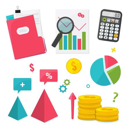 Business Management and Finance set. Flat design graphic elements. Vector illustration Vectores