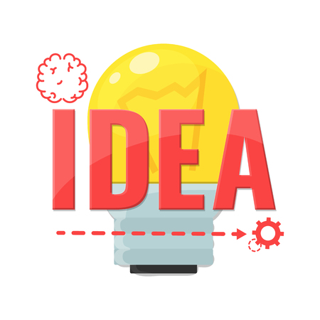 Design concept for Idea in technology, science. Brain and bulb. Making creative products. Vector illustration.