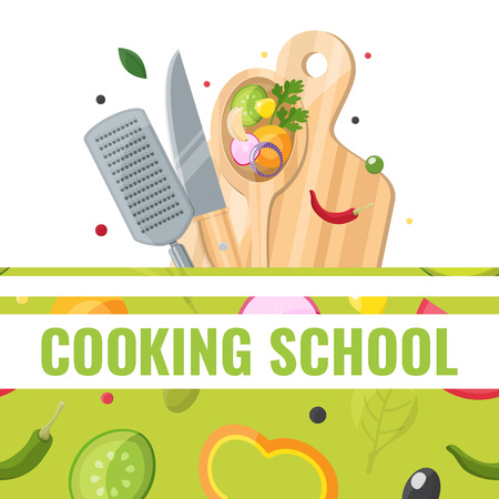 Flat design banner of Cooking school with cooking tools