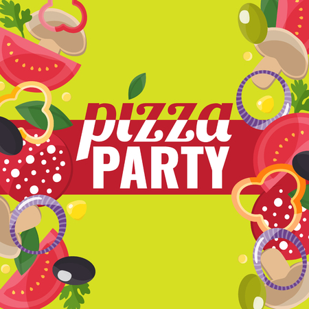 Pizza Party concept banner with pizza ingredients
