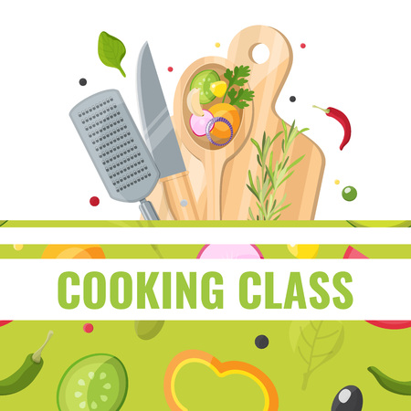 Flat design banner of Cooking class with cooking tools