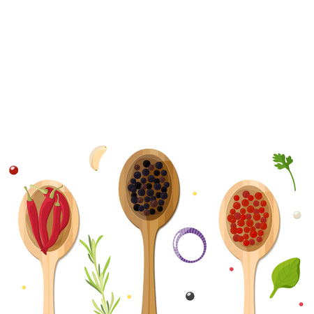 Different types of pepper in wooden spoons, chili and spices. Background layout for recipes, menu, cooking Studio. Vector illustration.