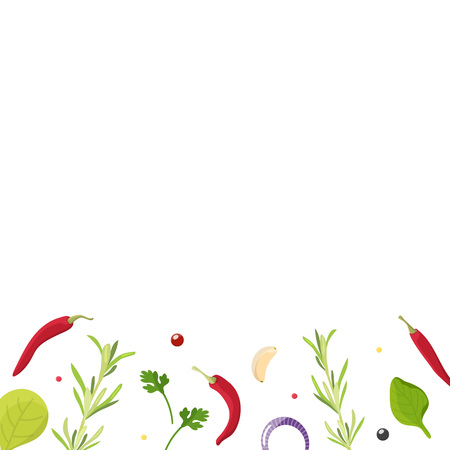 Various of spices, herbs, seasoning. Background layout for menu, cooking Studio. Flat lay spices ingredients rosemary, chili pepper, garlic, basil on white background. Vector illustration.