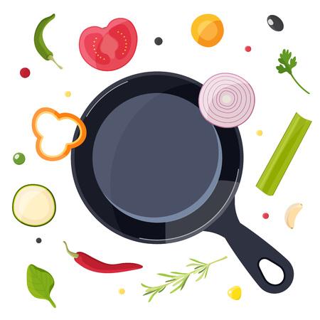 Processus de cuisson. La nourriture vole autour de la casserole Conception pour café, restaurant, cours de cuisine ou cuisine à domicile. Illustration vectorielle.