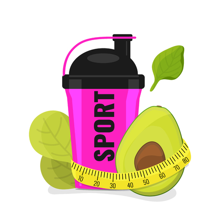 Fitness, sport, diet and healthy lifestyle icon with shaker, avocado and measuring tape. Vector illustration Illustration