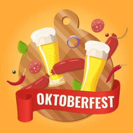 Oktoberfest Traditional German Beer Festival Design. Banner for beer party.