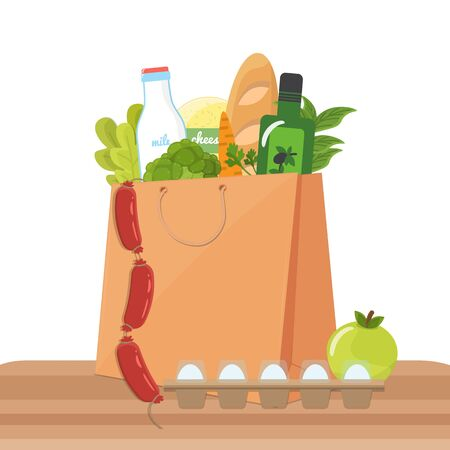 Paper bag with products. Food basket, everyday purchasing Çizim