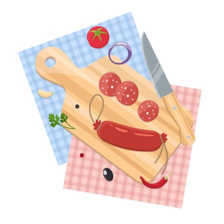 Sausage on a chopping Board, spices and a knife. The process of cooking. Home cooking. Stock Vector - 131781792