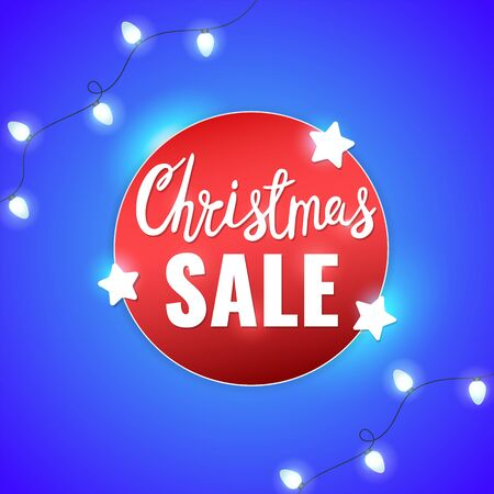 Christmas sale winter banner with stars, light garlands and Christmas lettering. Advertising flyer.