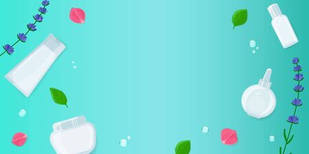 Beauty banner with facial cosmetic bottles, leaves, bubbles, lavender and rose blossom on turquoise background. Skin care layout with copy space, top view, flat lay.