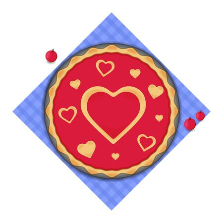 Pie for Valentines Day, berry cake with decorations of hearts symbol on blue napkin. February 14 concept. Cooking with love. Vector illustration