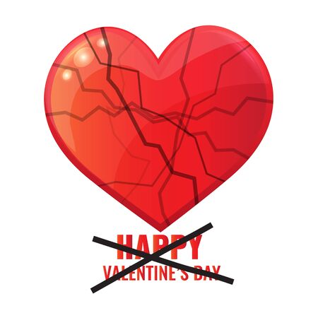 Valentines Day card. Big red heart in the cracks.