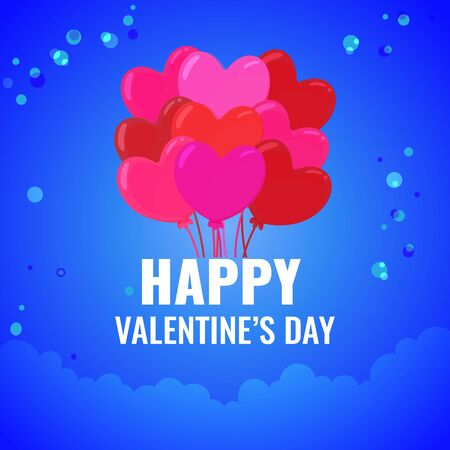 Happy Valentines day card. lot of red balls on blue gradient background with clouds. Vector image for advertising, web banner, printing.