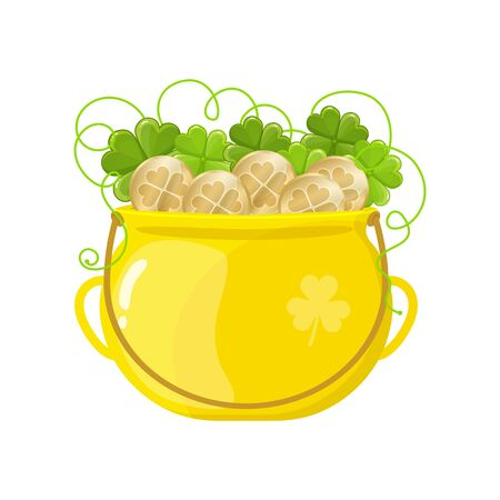 Gold pot with coins and clover icon. Good Luck, fortune, treasure, Happy Saint Patricks day concept. Vector image isolated on a white background