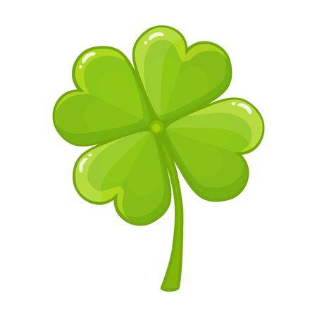Four-leaf green clover Icon. Good Luck, happy Saint Patricks day concept. Vector image isolated on a white background Illustration
