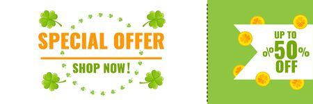 Coupon for Saint Patricks day special offer banner with gold coins and clover. Stock Vector image for advertising, promotion. Illusztráció