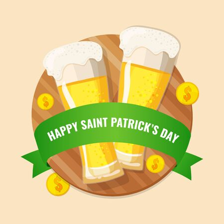Happy St. Patricks day concept. Banner with two glasses of beer, green ribbon and coins on a wooden board. Vector image for advertising, web banner, printing.