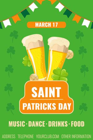 Happy St. Patricks day flyer. Banner with two glasses of beer, clover and coins. Invitation to a party in a bar, pub or restaurant. Vector image for advertising, web banner, printing. Illusztráció