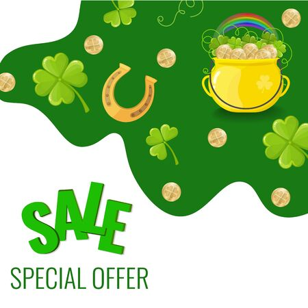 Sale Banner for St. Patricks day with four-leaf clovers, pot with gold coins and horseshoe. Vector image for advertising, web banner, printing. Illusztráció