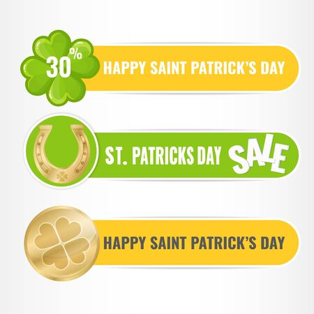 Set of banners for Saint Patricks Day with four-leaf clover, horseshoe and golden coin. Vector image for advertising, web banner, promotion. Illusztráció