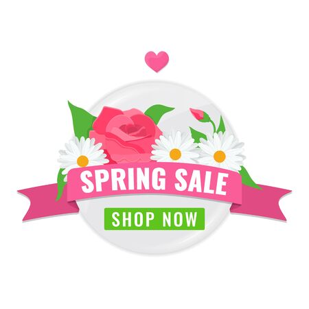 Circle pink banner for spring sale with chamomile, rose and green leaves. Advertising tag with blooming flowers and rosebud. Vector stock image