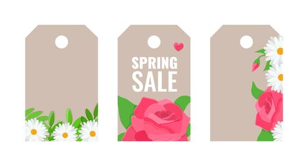 Gift tags with blooming flowers, rose and chamomile. Spring sale concept. Vector stock image