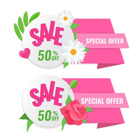 Set of spring sale banner with rose and chamomile. Blooming flowers on discount label. Vector stock image Ilustrace