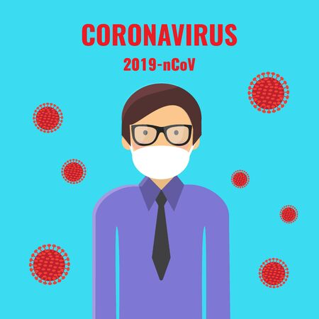 coronavirus 2019 nCoV concept. Man in a protective medical mask. virus.