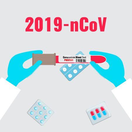 Blood test for coronavirus in doctor hands. 2019 nCoV, coronaviruses influenza concept.
