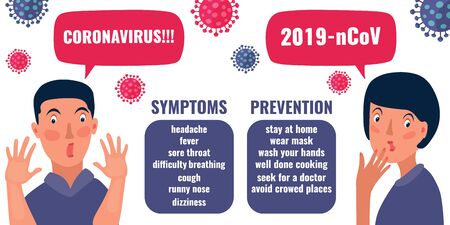 Infographic banner about symptoms and prevention of Coronavirus 2019. nCoV concept. Surprised and frightened people, coronaviruses influenza. Vector illustration