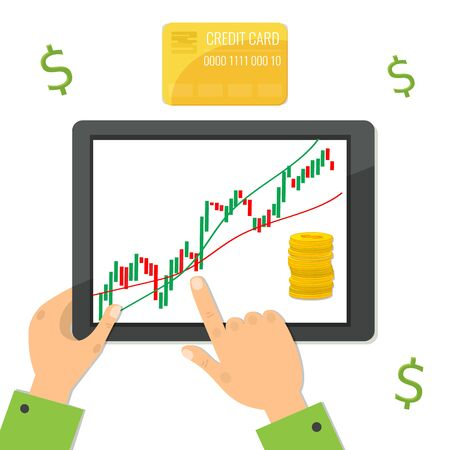 Computer tablet with trading candlestick chart graphic design. Financial market concept. Vector stock illustration. Ilustração