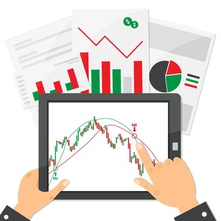 Computer tablet with trading candlestick chart graphic design . Working on Financial market concept. Vector stock illustration.