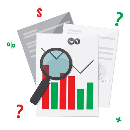 Document files with trading graphic design . Working on Financial market concept. Vector stock illustration.