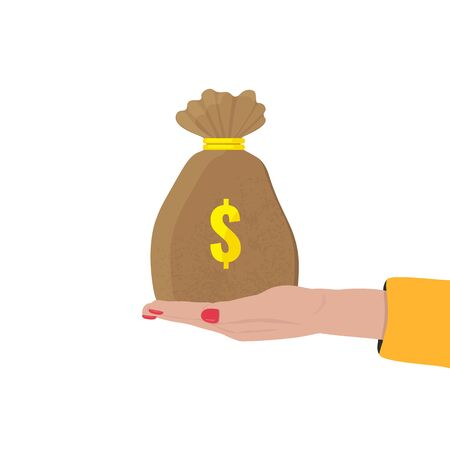 Womans hand holds a bag of money with dollar sign. Bank, investment concept.