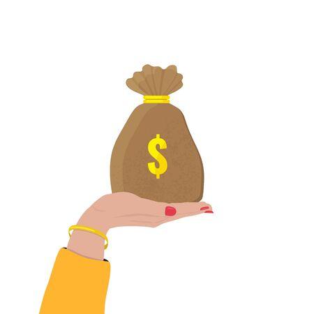 Hand holds a bag of money with dollar sign. Bank, investment concept. Illusztráció