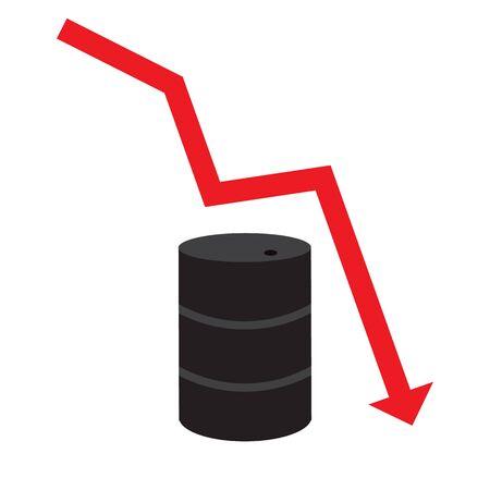 Barrel of oil and arrow. Falling price of oil concept. Illusztráció